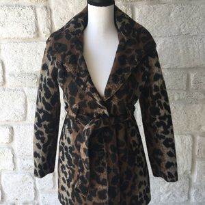 Via Spiga Leopard Print Coat / Size Large